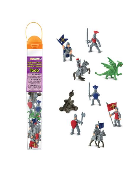 Figurines Chevaliers dragons tube Safari Ltd® 699904 Jouet réaliste Matériel pédagogique Cartes Animaux Montessori replique Tube