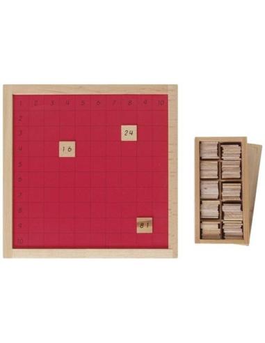 Tableau Pythagore boîte de jetons didactique Matériel Montessori lesminis coorection double entree ecole