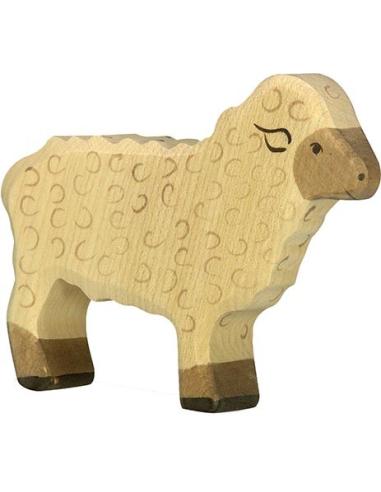 Figurine mouton debout Holztiger Animaux Ferme Jouet bois Goki jeu libre montessori reggio monde miniature construction eco euro