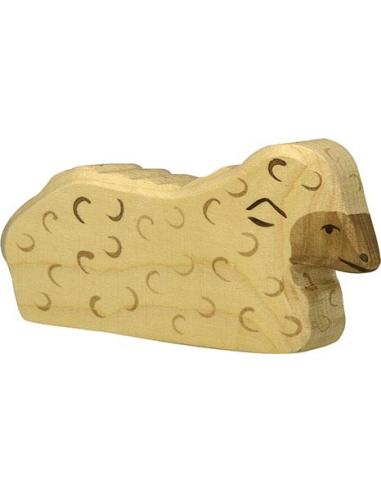 Figurine mouton allongé Holztiger Animaux Ferme Jouet bois Goki jeu libre montessori reggio monde miniature construction eco eur