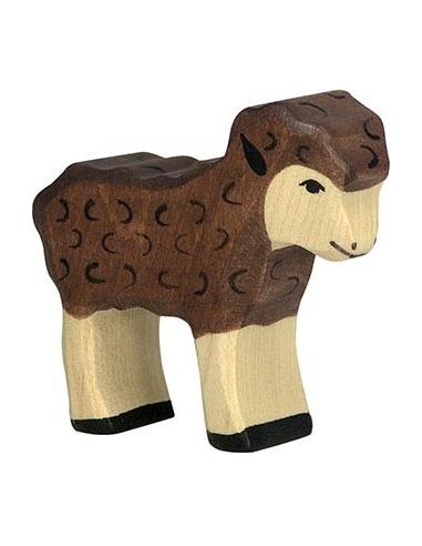 Figurine agneau noir Holztiger - Animaux de la Ferme (Jouet en bois) Holztiger {PRODUCT_REFERENCE}  En Bois - 1