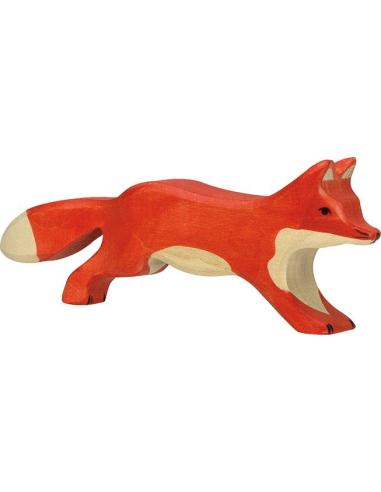 Figurine renard marchant bois Animaux bois Holztiger Jouet Goki jeu libre montessori reggio monde miniature construction eco eur