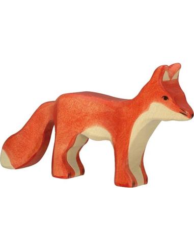 Figurine renard debout bois Animaux bois Holztiger Jouet Goki jeu libre montessori reggio monde miniature construction eco europ