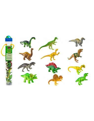 Figurines dinosaures Tube Safari 681304 Matériel pédagogique Enrichissement Montessori Jouet Cartes maternelle science vocabulai