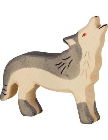 Figurine loup hurlant bois Animaux bois Holztiger Jouet Goki jeu libre montessori reggio monde miniature construction eco europe