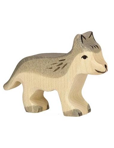Figurine loup petit bois Animaux bois Holztiger Jouet Goki jeu libre montessori reggio monde miniature construction eco europe