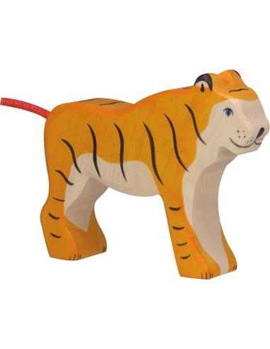Figurine tigre debout bois Animaux jungle Holztiger Jouet Goki jeu libre montessori reggio monde miniature construction eco euro