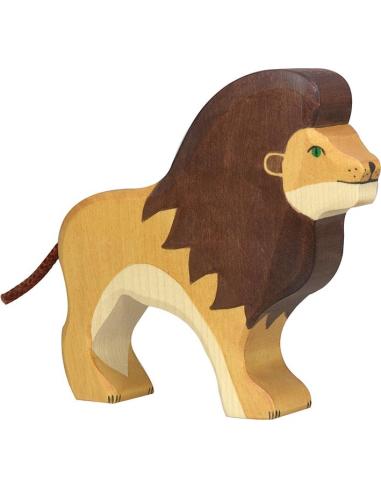 Figurine lion bois Animaux jungle Holztiger Jouet Goki jeu libre montessori reggio monde miniature construction eco europe