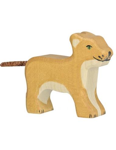 Figurine lion petit debout bois Animaux jungle Holztiger Jouet Goki jeu libre montessori reggio monde miniature construction eco