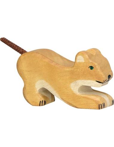 Figurine lion petit jouant bois Animaux jungle Holztiger Jouet Goki jeu libre montessori reggio monde miniature construction eco